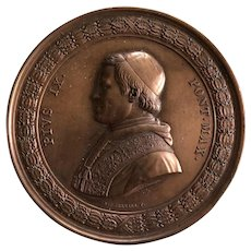 Vintage Hand Struck Commemorative Pope Pius IX Bronze Medallian