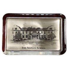 "Vintage Eglomise Designs Commemorative Paperweight ""The Shipley School"" Shipley Massachusetts"