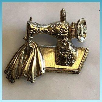 Vintage Hand Crafted Brass Sewing Machine & Garment Brooch