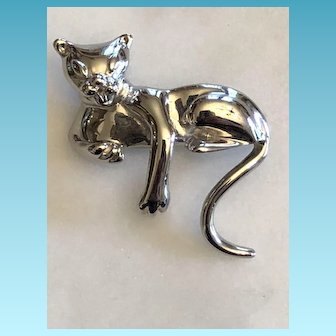 Vintage Sterling 925/1000 Silver Signed Domenico Siamese Cat Brooch