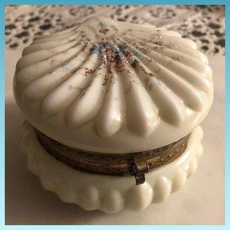 19th Century CF Monroe Signed Wavecrest Glass Hinged Vanity Box