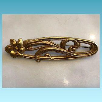 Vintage Goldtone carved Art Nouveau Style Ladies' Brooch Pin