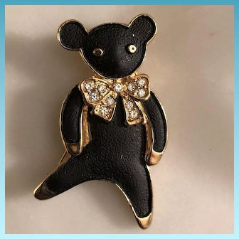 Costume Goldtone  Black Enamel Painted Teddy Bear Brooch Circa 1970