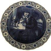 Large Delft Blue & White Decorative Wall Plate Circa 1842