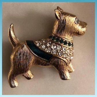 Swarovski Scottish Terrier Dog Brooch with Hallmark Swan Decorated with Crystals C. 1989
