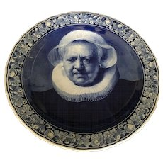 Large Mid Century Delft Blue & White Portrait Wall Plate signed Rembrandt