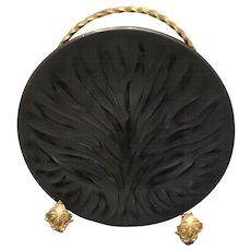 20th Century Black Art Nouveau Plate Signed Lalique France