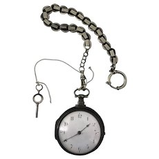 Rare English  Pocket Watch J Compton Coventry Movement within a Sterling Silver Case Circa 1814 Birmingham