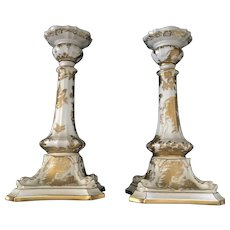 19th Century Royal Crown Derby Gold  Avesbury Design Candlestick Pair