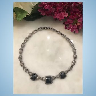 Vintage 925 Silver Necklace with Center Black Onyx and Rhinestones