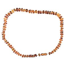 "Vintage Beaded Amber 27"" Chain"