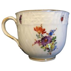 1924-34 Pfeiffer Mark Cross Swords Floral & Butterfly Hand-painted Meissen Cup