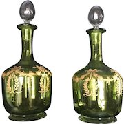 Late 19th Century Pair of Moser Bohemian Lime Green Jugs Hand Painted Design in Gold
