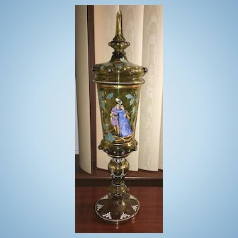 Late 19th Century Art Nouveau  Bohemian Moser Large Hand Painted Art Glass Chalice