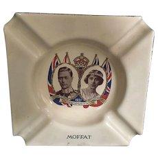 1937 English Royal Coronation King George IV & Queen Elizabeth Blue Enamel Finished Ashtray made by Moffat