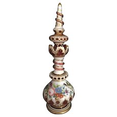 Mid 19th Century Unusual Moser White and Ruby cut to Clear Hand Painted Perfume Bottle