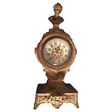19th Century French Ormolu and Bronze Case for American New Haven Clock Co Porcelain and Gold Hand Painted Numerals