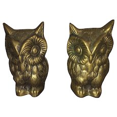 Pair of Mid Century Engraved Brass Owl Bookends