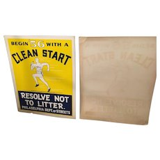Pair of 1956 Original Philadelphia Clear Start Run Posters By Tyler