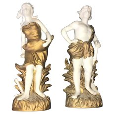 19th Century Pair of Neoclassic French Bisque Hand Painted Figurines