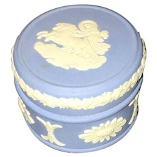 Vintage 20th Century Blue Bisque Wedgwood oval  Box