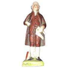 19th Century Hand Painted Sitzendorf Miniature Figurines of Thomas Jefferson and Patrick Henry