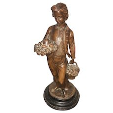 19th Century European  Folk Art Sculpted Statue of Young Man Holding Fruit Baskets