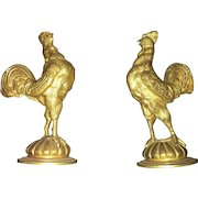 French Art Nouveau Bronze Decorative and Hand Carved Roosters
