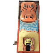 Vintage Mid century Mechanical  Yone Tin Hippo Coin Bank