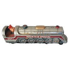 Vintage Japanese Export Modern Toys Tin Litho battery Operated  Locomotive Circa 1960's