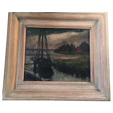 19th Century  Oil on Board Painting of Ship Sailing  from harbor into calm waters