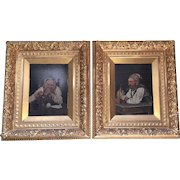 19th Century Oil On Board Cameo portrait of Man and Woman in gilded Gold Wood frame