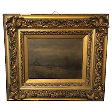 19th Century Signed British Moor Scene Painting oil on Canvass