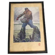 Early 20th Century Signed watercolor French Farmer Planting Seeds