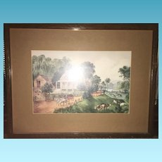 19th Century Lithograph Etching of Irish Country Scene