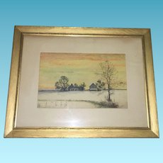 Early American signed outdoor Winter Scene Circa 1930