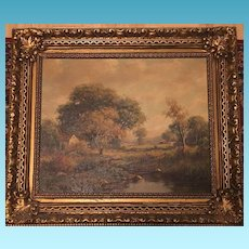 19th Century Signed English Landscape Oil on Board Painting of Man at his Farm