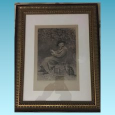 20th Century Lithograph Etching  Of Carlyle Sitting by Fireplace with his Cat