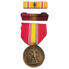 Vintage American Bronze Decoration National Defense Service Medal and Ribbons