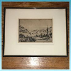 19th Century artist signed charcoal Etching of Russian Siberian Village Scene