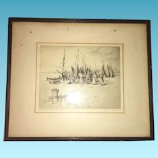 Early American Signed Lithography Etching Little Stone Street