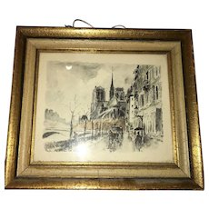 Parisian French Watercolor painting depicting  Notre Dame Cathedral circa 1930
