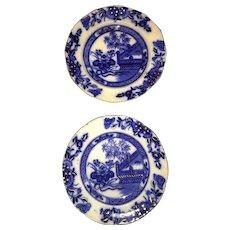 19th Century English oriental Pattern Flow Blue Plates