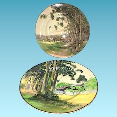 Mid Century Pair of Decorative English Royal Doulton Charger Plates