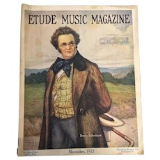 Early American Etude Music Magazine November 1922 Franz Schubert Cameo Issue Otto Nowak Drawing