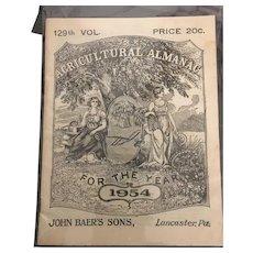 129th Volume John Baer and Sons Agricultural Almanac 1954