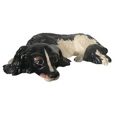 Mid Century Decorative Hand Painted Cocker-Spaniel Statuette at Rest