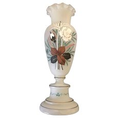 20th Century English Bristol Glass hand painted Flower Vase