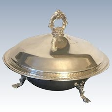 Vintage English Silver Plated Covered Serving Bowl