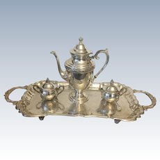 Mid Century  English Four Piece Silver Plated Tea Service Set